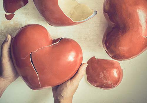broken pottery hearts